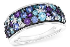 Lady's white gold mixed gemstone band - Kennedy's Custom Jewelers
