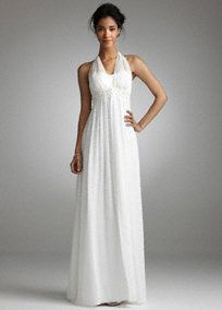 Elegant chiffon gown is effortlessly chic.   Illusion halter neckline is delicate and feminine.  Beaded crystals and pearls adorn the empire waist for a touch of sparkle.  Chiffon over charmeuse fabric gives this gown an ethereal feel while split front creates a flowing look.  Soft goddess silhouette is simply stunning.  Floor length skirt. Invisible back zip. Imported polyester. Dry clean only.  Available in white or ivory. To protect your dress, try our Non Woven Garment Bag.