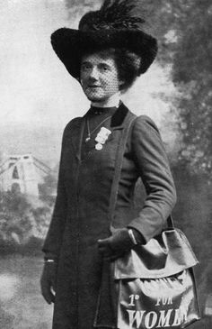 Mary as a suffragette, wearing her hunger strike medal. (Author's collection)