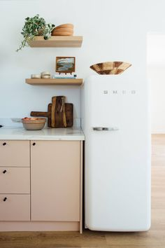 Ikea kitchen upgrade with Semhandmade cabinet doors in pale pink