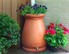 Rain wizard urn shape and color add class and style to your rain harvesting Top functions as a planter which drains excess water to avoid root rot Meshed screen blocks debris from entering your water supply Flatback design sits tightly against any outside wall Available in 65-gallon