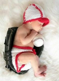 Newborn Baby Infant Baseball Knitted Crochet Costume Photo Photography Prop L102 #FindItFollowIt