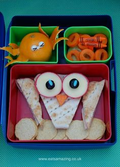 Eats Amazing - Alphabet Themed Kids Bento Lunches - O is for Owl Octopus Orange Oaty Bites