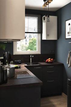 La couleur noire dans une cuisine lumineuse, donne instantanément un côté chic et architecturé. Découvrez nos conseils pour jouer avec cette couleur sombre tout en conservant la luminosité de votre pièce ! Diy Bedroom Decor, Diy Home Decor, Architecture, Sombre, Jouer, Kitchen Cabinets, Chic, Bright Kitchens, Black Colors