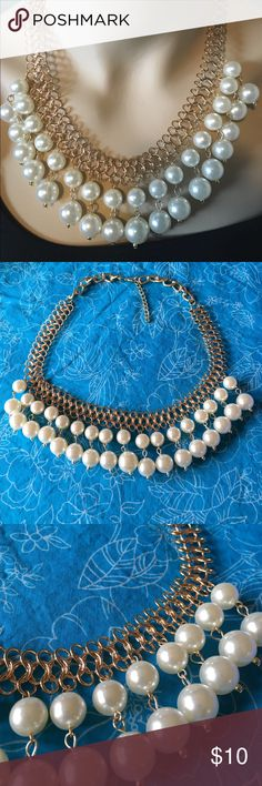 "Gold and Fashion Pearl Statement Necklace Gorgeous fashion pearl statement necklace. Expandable from 20"" to 22"" long. Bundle and save even more! :) Jewelry Necklaces"