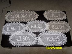 Jolene Ortiz is a very talented crocheter, who has found a way to make some extra money doing what she loves. Jolene makes customized nam. Filet Crochet Name Pattern, Crochet Edging Patterns, Crochet Designs, Crochet Alphabet Letters, Cross Stitch Alphabet, Crochet Gifts, Crochet Doilies, Free Crochet, Crochet Projects