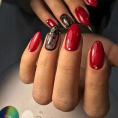 Round Nails, Oval Nails, Toe Nails, Black Acrylic Nails, Red Nail Designs, Luxury Nails, Nagel Gel, Bridal Nails, Nail Art Hacks