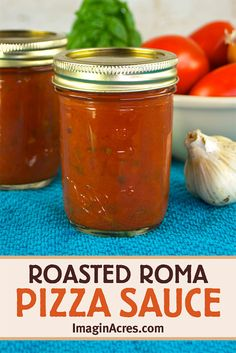 Make homemade pizza sauce with fresh ingredients while they are in season. The flavors in this homemade pizza sauce intensify by roasting the vegetables first resulting in a full flavored sauce that will elevate homemade pizza night. Click to learn how to make and can roasted Roma pizza sauce. Canning Pizza Sauce, Tomato Pizza Sauce, Tomato Sauce Recipe, Homemade Tomato Sauce, Sauce Recipes, Pizza Recipes, Canned Tomato Recipes, Canning Salsa, Marinara Sauce