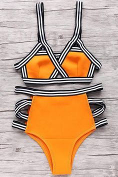 Floralkini Striped Trim High Waist Grid Ladder Side Bikini Set