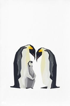Geometric illustration Emperor Penguin Animal by TinyKiwiCreations