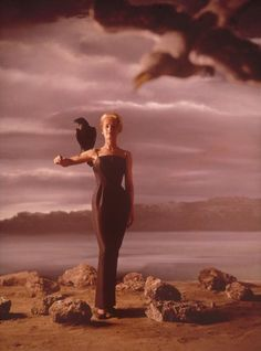 Tippi Hedren in a poster / promo for 'The Birds' directed by Alfred Hitchcock, 1963. Photo by Philippe Halsman.