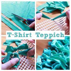 Wuschel-Teppich aus alten T-Shirts knüpfen