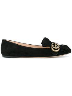 Shop Gucci GG vamp fringe flat loafers.