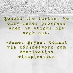 Behold the turtle. He only makes progress when he sticks his neck out.  -James Bryant Conant via bfhsnetwork.com #motivation #inspiration