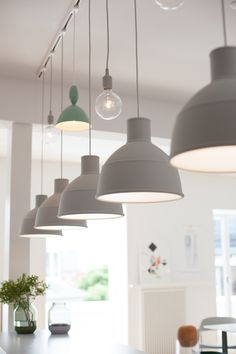 My Visit To Muuto in Copenhagen - All About Decoration Industrial Track Lighting, Pendant Track Lighting, Track Lighting Kits, Track Lighting Fixtures, Pendant Light Fixtures, Industrial Pendant Lights, Deco Luminaire, Kitchen Ceiling Lights, Dining Room Lighting