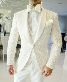 Simply add 5 items to your cart. Wedding Dresses Men Indian, Wedding Dress Men, Wedding Suits, Wedding Gowns, Blazer Outfits Men, Blazer Fashion, Suit Fashion, Mens White Suit, White Suits