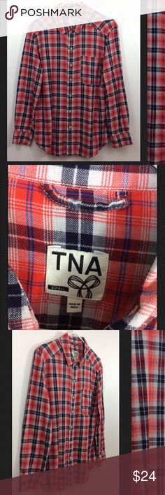 """TNA Aritzia Banff Brushed Flannel Plaid Buttondown TNA Aritzia Banff Brushed Flannel Plaid Buttondown Shirt   Red, White & Blue Check  Excellent condition  No Flaws, tears or marks Freshly Laundered  VERY SOFT!   Size: SMALL  Pit to Pit: 21"""" Length: 28""""  Thanks for checking out my Closet! TNA Tops Button Down Shirts"""