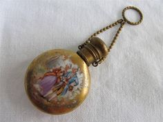 ANTIQUE EDWARDIAN PORCELAIN CHATELAINE SCENT PERFUME BOTTLE 18th CENTURY LOVERS