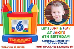 Personalized Bounce House Birthday Party Invitation Design Digital YOU PRINT Invite Boy bouncehouse jumper boy girl