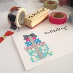 No peeking! Preparing some ideas for Christmas Cards using MT Bows Washi tape.