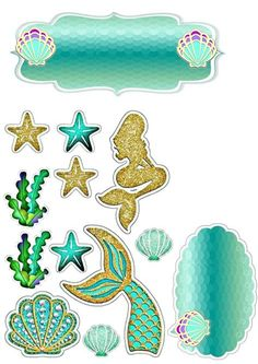 Mermaid Birthday Cakes, Mermaid Cakes, Birthday Cake Toppers, Happy Birthday Printable, Diy Cake Topper, Unicorn Party, Birthday Party Decorations, The Little Mermaid, Decoupage Paper