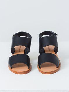 7744c0c8a77d Minimalist black leather sandals with low