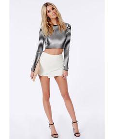 Skinny Rib Striped Crop Sweater Black - Knitwear - Missguided