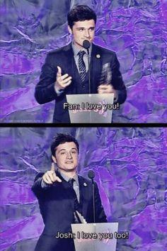 """Josh Hutcherson! He's so cute! He should've said """"And I love you random fan!"""" Like on """"Megamind""""!"""