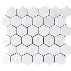 Glacier Textured 10 3/8x12 Hexagon Marble Mosaics