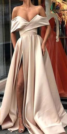 DESCRIPTION 2018 Sexy Satin A-line Off the Shoulder Formal Occasion Dress with Slit Prom Dresses ,Charming Prom Gown,Cheap Prom Dress,Evening Gowns This dress could be custom made, there are no extra cost to do custom size and color. Cheap Prom Dresses, Prom Party Dresses, Occasion Dresses, Sexy Dresses, Pretty Dresses, Beautiful Dresses, Dress Prom, Party Gowns, Cheap Gowns
