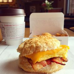 ** Chick-Fil-A's Bacon, Egg & Cheese Biscuit with Coffee **