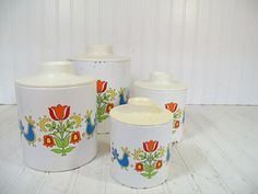 Retro Ransburg Round BoHo Hip Metal Nesting Canisters Set - Vintage 8 Matching ToleWare on White Enamel Cans & Lids - Classic Kitchen Decor $39.00 by DivineOrders
