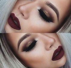 Deep brown glitter smoky eye and a deep red