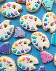 repostería galletas de colores paletas de colores y diamantes
