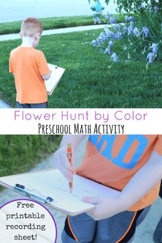 Hunt for flowers by color! A fun preschool math activity with free printable recording sheet!