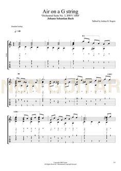 Air on a G string - Free Classical Guitar Tabs — NBN Guitar