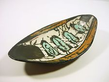 "GORKA LIVIA, RETRO BOWL WITH ABSTRACT MOTIF 7.5"", 1950'S ART POTTERY!"