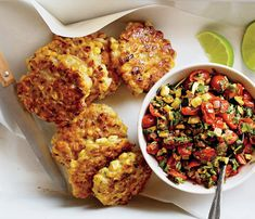 Corn Fritters With Spicy Zucchini Salsa.
