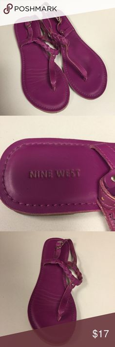 Nine West Fuchsia Sandals These adorable fuchsia sandals are perfect for running around town. I've worn them about 5 times and they are in great condition. The strap around the ankle is adjustable. Top strap is braided for a little extra detail. Nine West Shoes Sandals