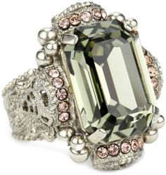 "Sorrelli ""French Blush"" Bold Crystal Silvertone Adjustable C"