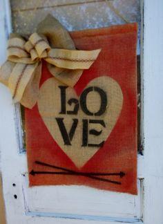 Burlap Front Door Valentines Banner