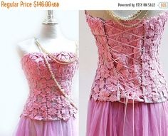 HOLIDAY SALE  Pink Lace Starpless Corset Strapless by BridalStars