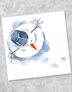Aquarell-Schneemann-Studios in blauer Tinte - emma Aquarell-Schne. - Aquarell-Schneemann-Studios in blauer Tinte – emma Aquarell-Schneemann-Studios in - Watercolor Christmas Cards, Diy Christmas Cards, Watercolor Cards, Xmas Cards, Christmas Art, Watercolor Paintings, Watercolours, Christmas Landscape, Kids Watercolor