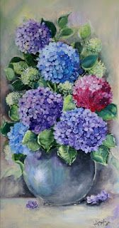 """My painting """"Magic Pictures"""": acrylic flowers - Art Painting Acrylic Flowers, Watercolor Flowers, Art Floral, Acrylic Canvas, Canvas Art, Hydrangea Painting, Painting Flowers, Abstract Watercolor, Painting Abstract"""