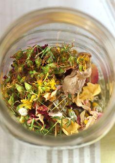 centering tea (chamomile, milky oats, rose petals, St. John's wort) / Tea Ceremony <3
