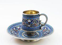 RUSSIAN SILVER ENAMEL COFFEE CUP WITH SAUCER, XIX. БЛЮДЦЕ И ЧАШКА РОССИЯ XIX B.
