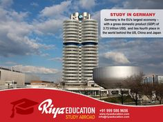 Abroad Education in Germany - Germany is the EU's largest economy, with a Gross Domestic Product (GDP) 3.73 trillion USD and lies fourth place in the world behind the US, China and Japan.