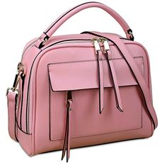 Yahoho Women's Double Zipper Genuine Leather Shoulder Handbag Cross Body Bag Pink