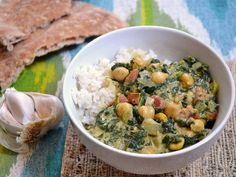 Chana saag, an Indian classic dish of spiced spinach and chickpeas.