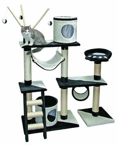 Kerbl Creativ Cat Tree, 150 cm, Black/ White ** Check out the image by visiting the link. (This is an affiliate link and I receive a commission for the sales) Cat Activity, Cat Training Pads, Cat Character, Russian Blue, Blue Cats, Cat Facts, All About Cats, Cat Sitting, Cat Lover